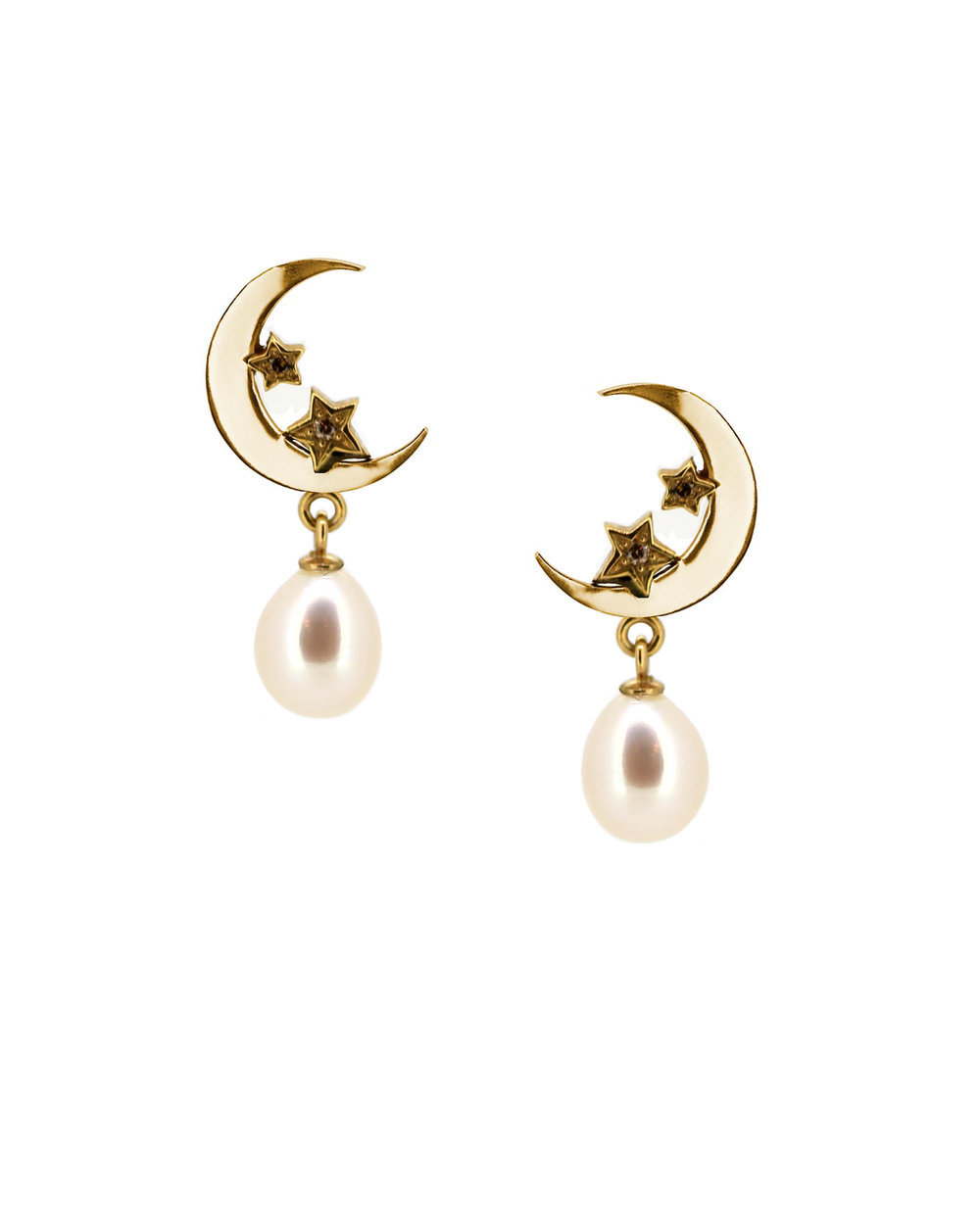 Royal Collection Moon and Star Earrings Gold, Champagne Diamond and Pearl.jpg