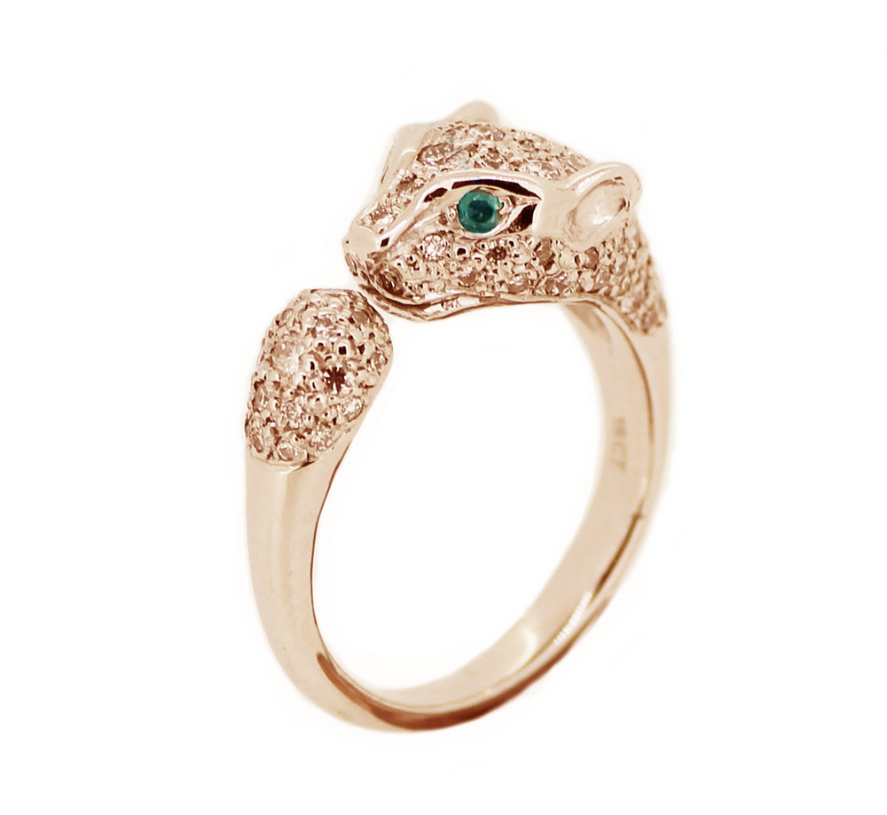 Lioness Ring Rose Gold and Champagne Diamonds with Emerald Eyes.jpg