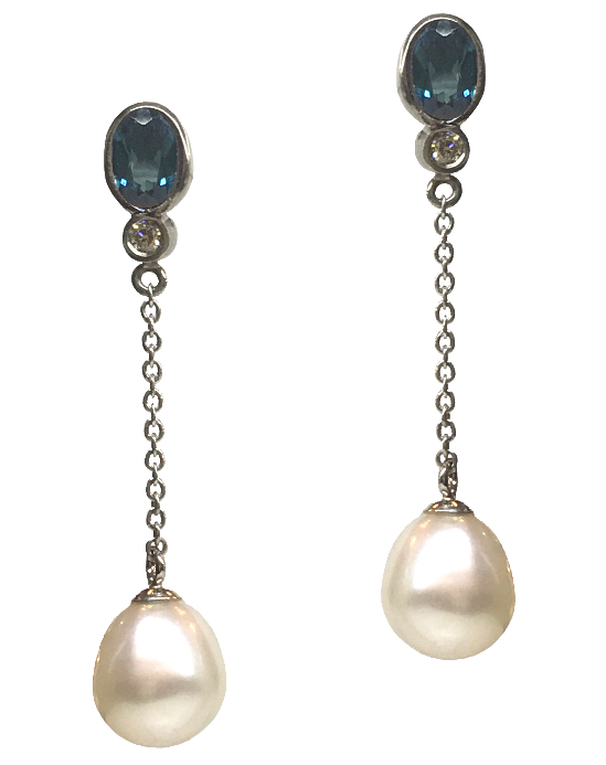 Indicolite Tourmaline Diamond and Pearl Earrings close up.jpg
