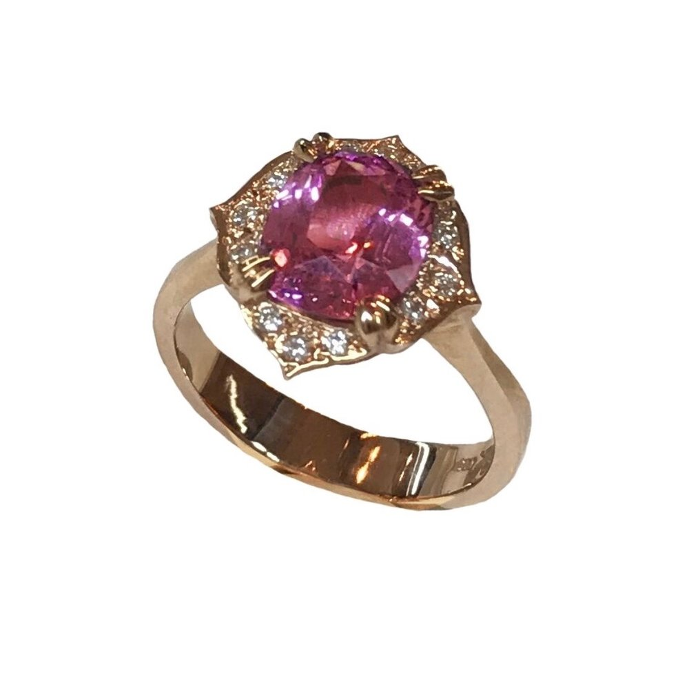 Malaia Garnet Cushion Cut Ring with Diamonds in Rose Gold.jpeg