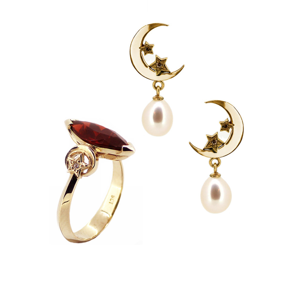 Royal Collection Marquise Garnet Ring with Moon and Star Earrings.jpg