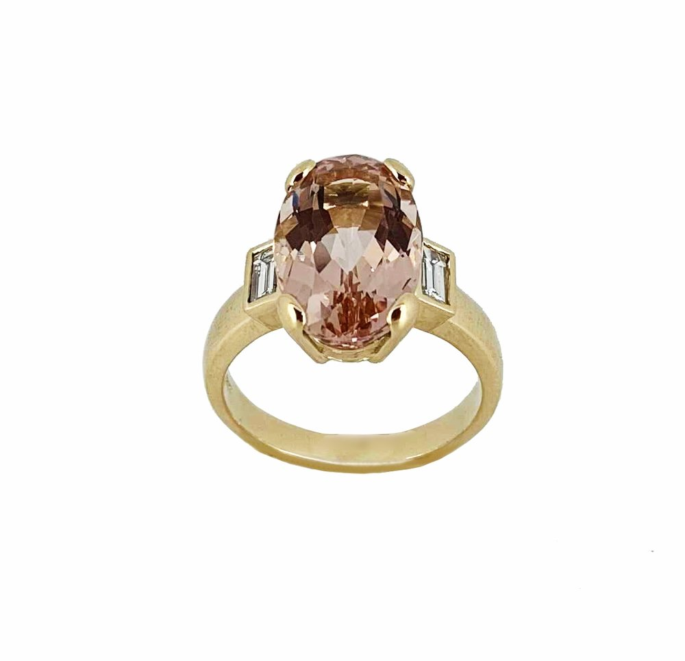 Morganite & Diamond Baguette Ring 18ct Yellow Gold.jpg