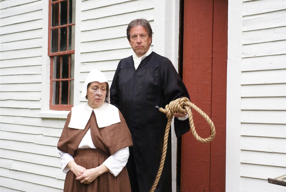 SALTONSTALL: Judge Hathorne (Boby Kerrigan) & Bridget Bishop (Carol Goans) at Rev.  John Ward  House