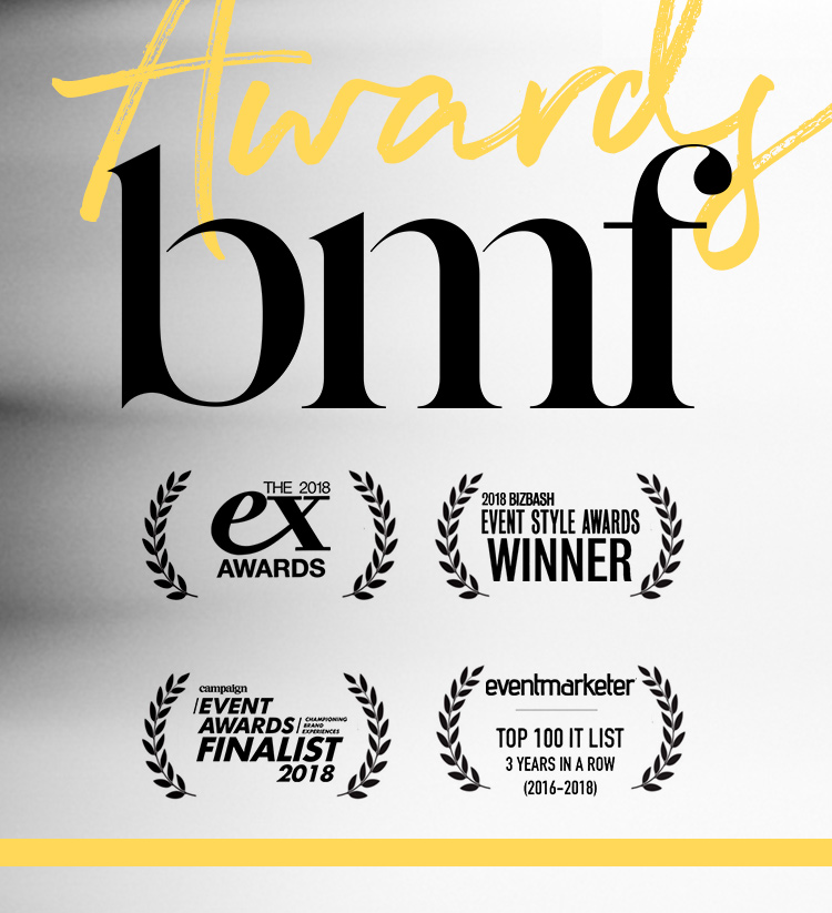 Ground-Breaking Award Recognized Experiences - BMF's impactful creative and well-defined strategies, results in honorable recognition across notable experiential platforms →