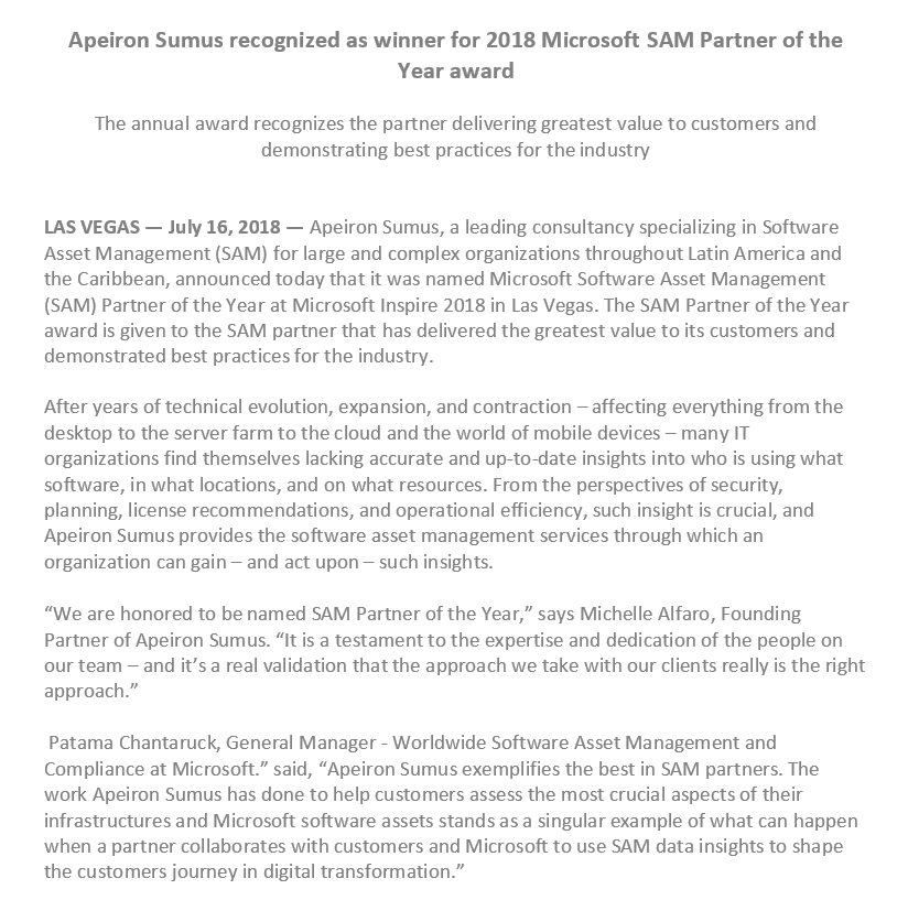 apeiron sumus is the 2018 microsoft sam partner of the year