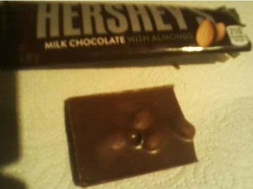 Hershey's Milk Chocolate With Almonds opened