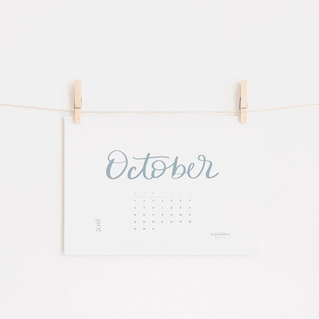 I create free monthly calendar printables for my @everyseptember_ email subscribers. And this is the one for October 💙 #freeprintable #handlettering #moderncalligraphy #octobercalendar #printablecalendar #freebie #freedownload