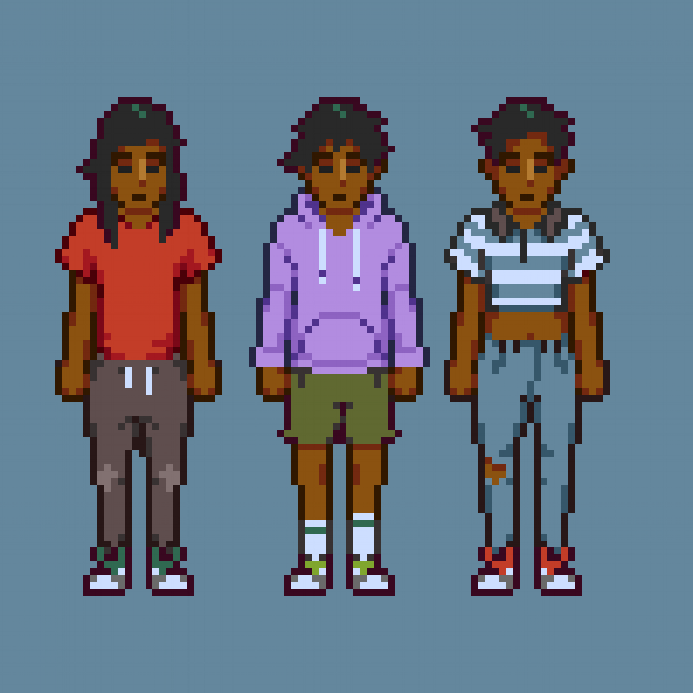 Initial clothing and hair options on sprites.