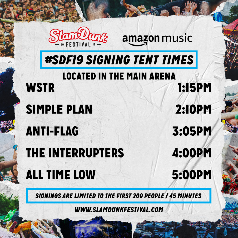 Amazon Music Signing Tent Times Announced! — Slam Dunk Festival