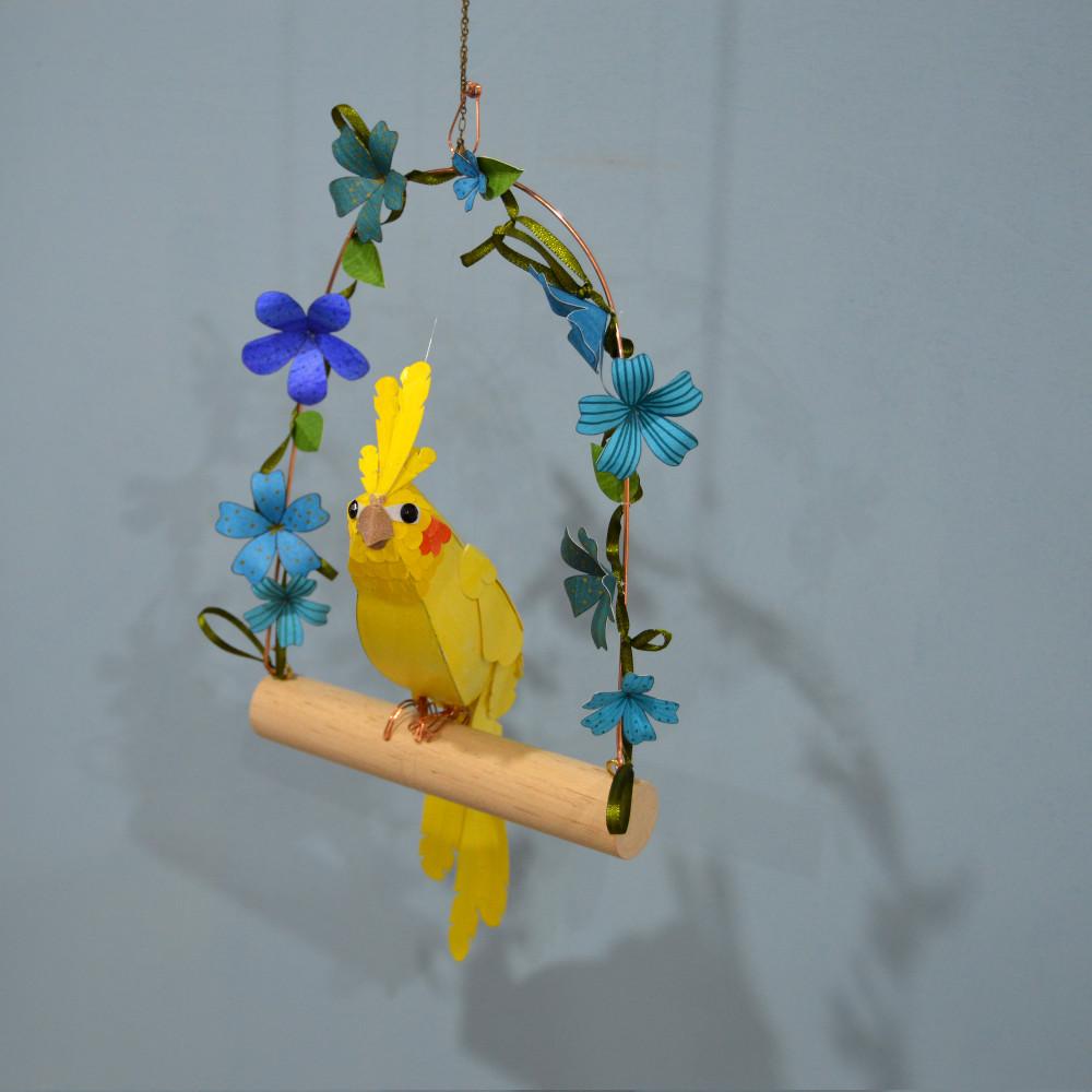 Cockatiels measure approximately 28 x 5 x 5 cm.  Cockatiel on a floral swing: £110  Cockatiel in a floral bird cage: £150