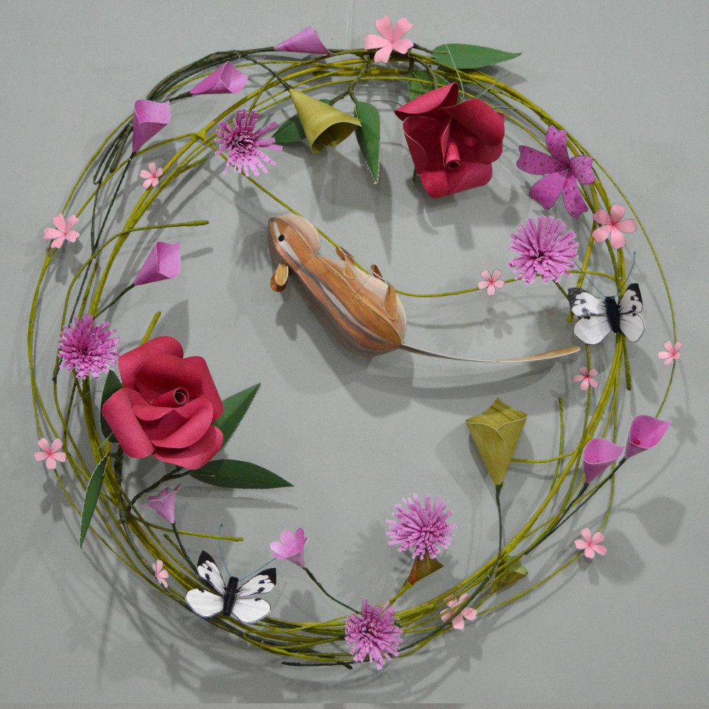 Jasper the Chipmunk on a pink floral hoop with cabbage white butterflies