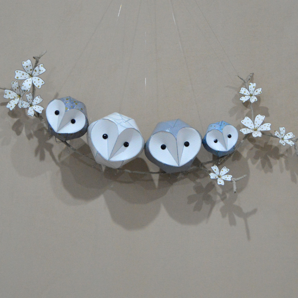 Owlet duo on a branch £68  Owlet trio on a branch £98  Owlet duo on a floral branch £78  Owlet trio on a floral branch £108