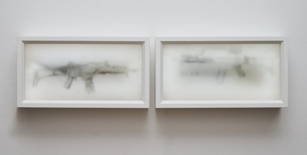 White Love, 2017  Blacklit pencil an human milk  20 x 40 x 10 cm