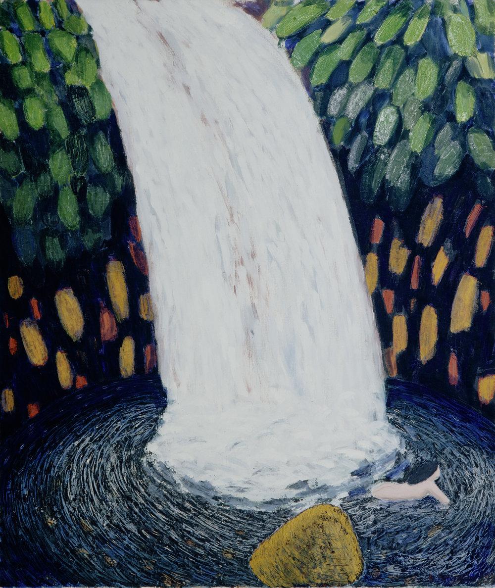 Gudrun Petersdorff_Schwimmende Frau am Wasserfall_1997_130,5x110cm_Öl auf Leinwand_131 R.jpg