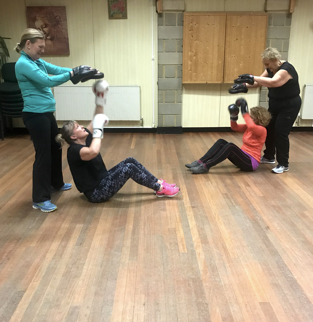"""Here are some of my Boxercise class members at The Whiteway Centre in Rottingdean, they are playing """"milk the cow!"""" which really gets the shoulder and core muscles working :-D"""