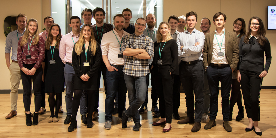 Some of the Senseon team in the London office