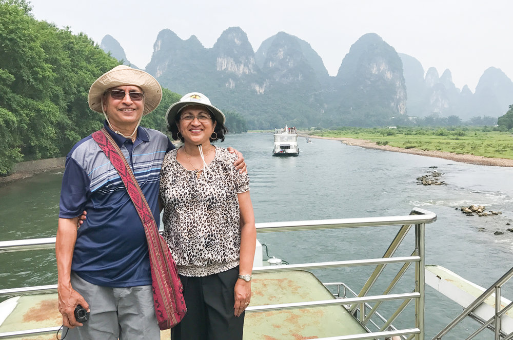 PICTURED: Alwyn and Sharyn Rodricks in China. Alwyn was 70 when the couple made the trip.