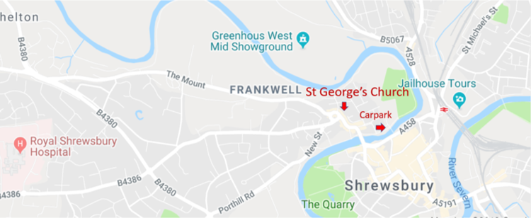 Find Us St Georges Church Shrewsbury - Find-us-map