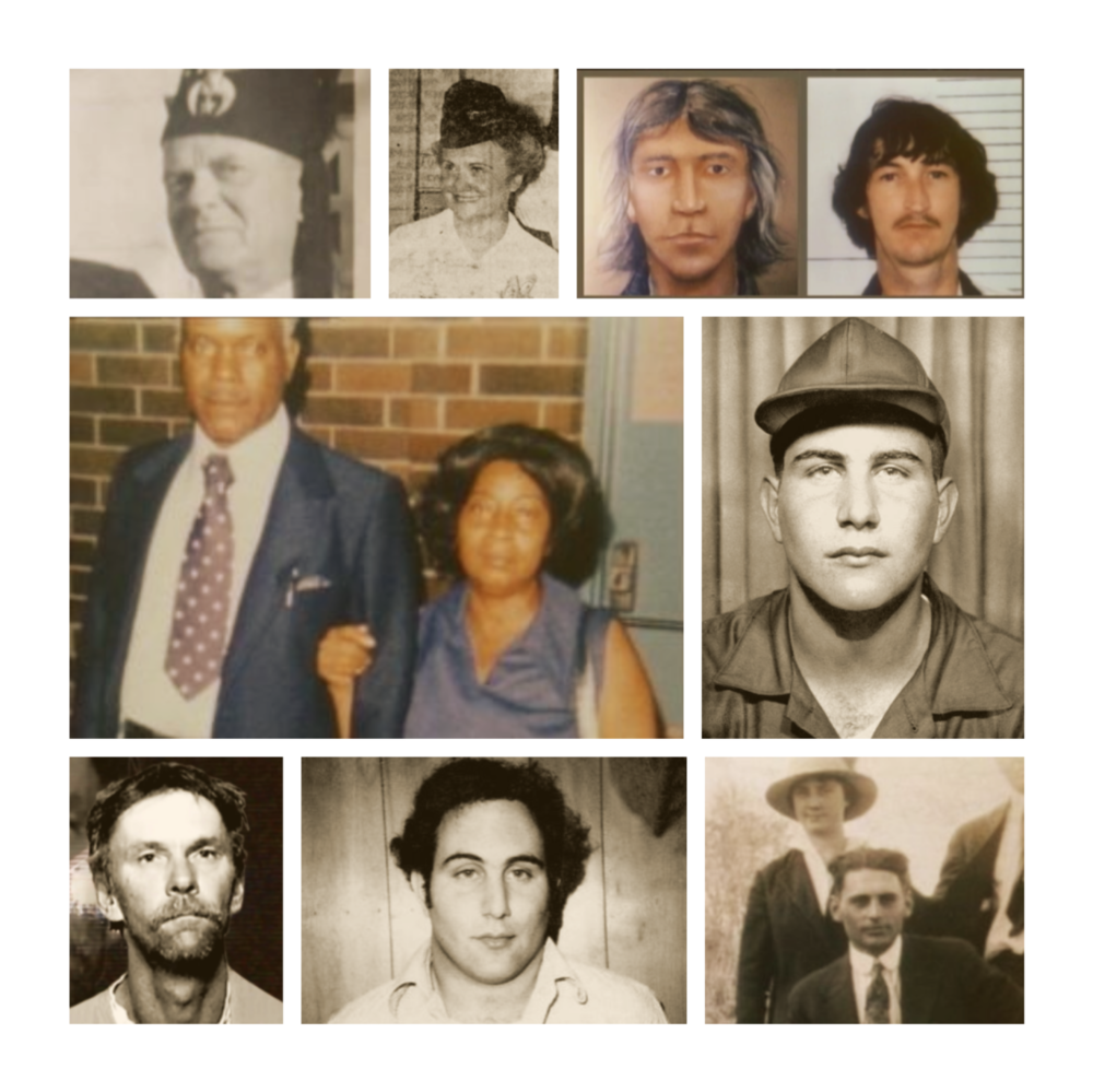 Top: Walter 'Curly' Green (older), Jessamyn Hardgrove, Composite & Donnie Barrentine Middle: Harold & Thelma Swain, David Berkowitz (young) Bottom: Dennis Arnold Perry, David Berkowitz (at the time of arrest), Walter 'Curly' Green (younger)
