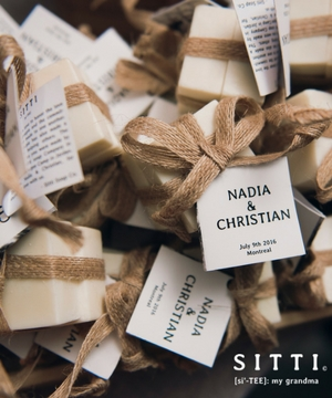 Sitti - [Si'-TEE] is a social enterprise empowering refugees in the making of olive oil soap. Sitti offers beautiful wedding favours that givebackAddress: 4070 Confederation Pkwy, MississaugaEmail: noora@sittisoap.comContact: Noora SharrabPhone: 1 (844) 748-8433Website: www.sittisoap.cominstagram ~  facebook ~  twitter ~  pinterest