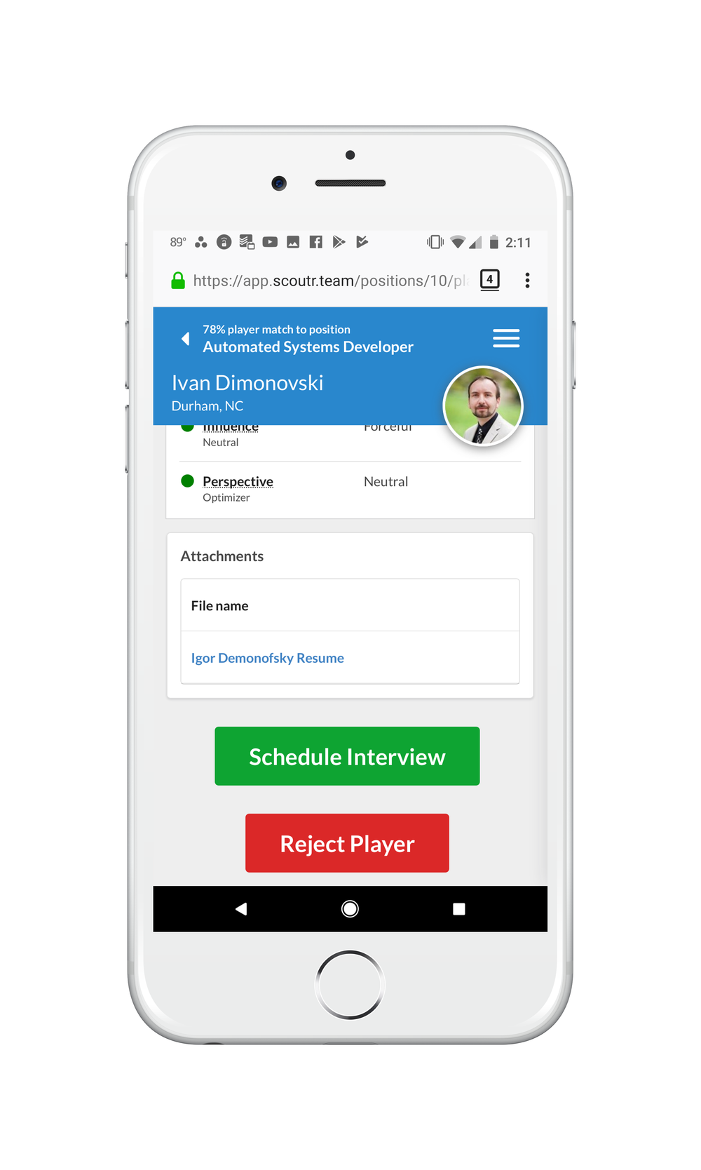 Anytime, Anywhere Access - Review candidates, schedule interviews, and provide feedback right from any browser on their mobile-devices.