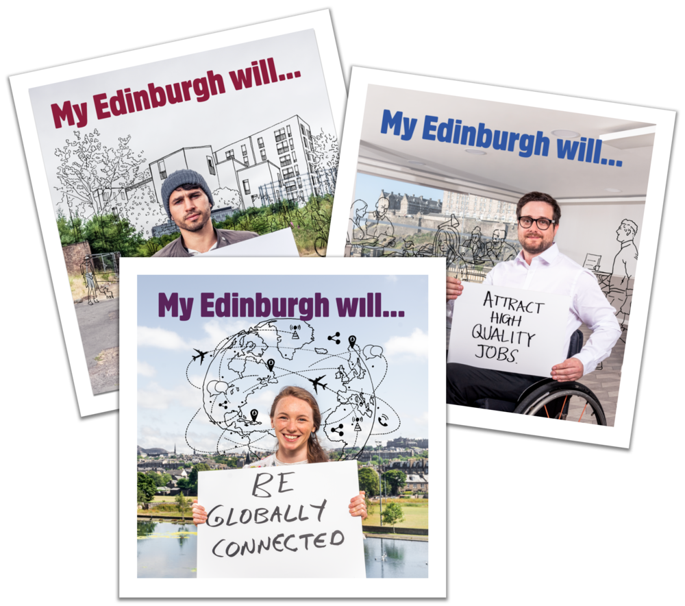 People holding cards that say 'My Edinburgh will... be globally connected' or '...attract high quality jobs'.