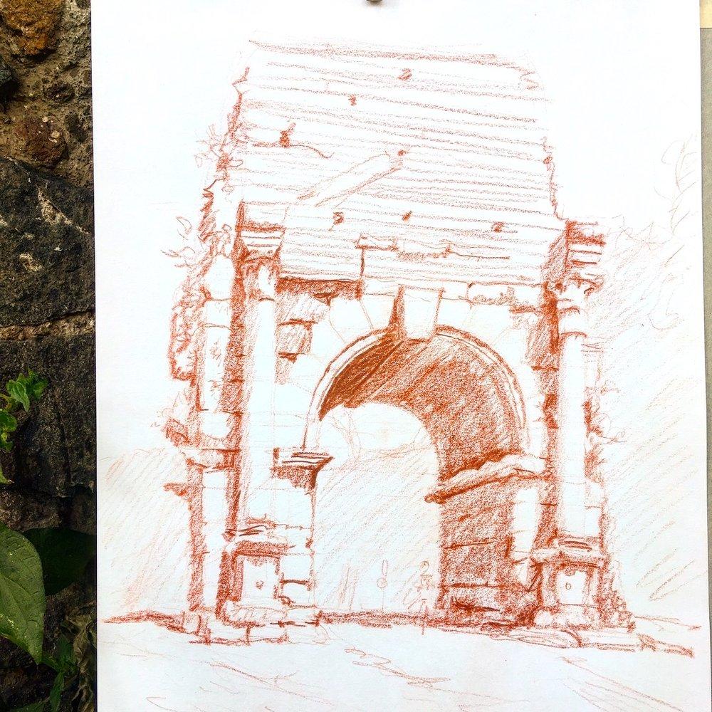 Arch of Drusus, sanguine pencil, 2018