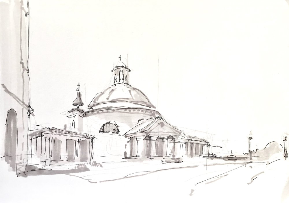 Bernini's Church of Santa Maria Assunta, pen & marker sketch, 2018