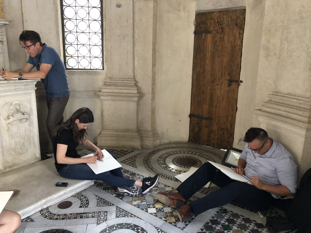measuring and drawing at the Tempietto at San Pietro in Montorio, Rome, 2018
