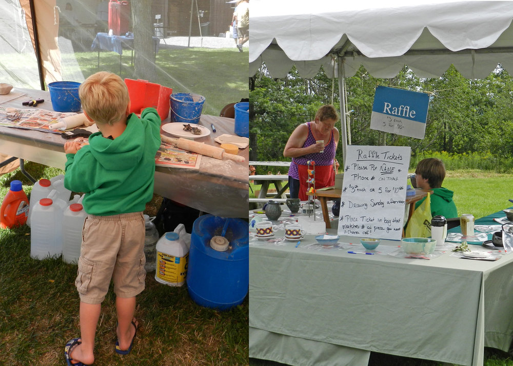 Clay Town for kids Raffle tent to win pottery
