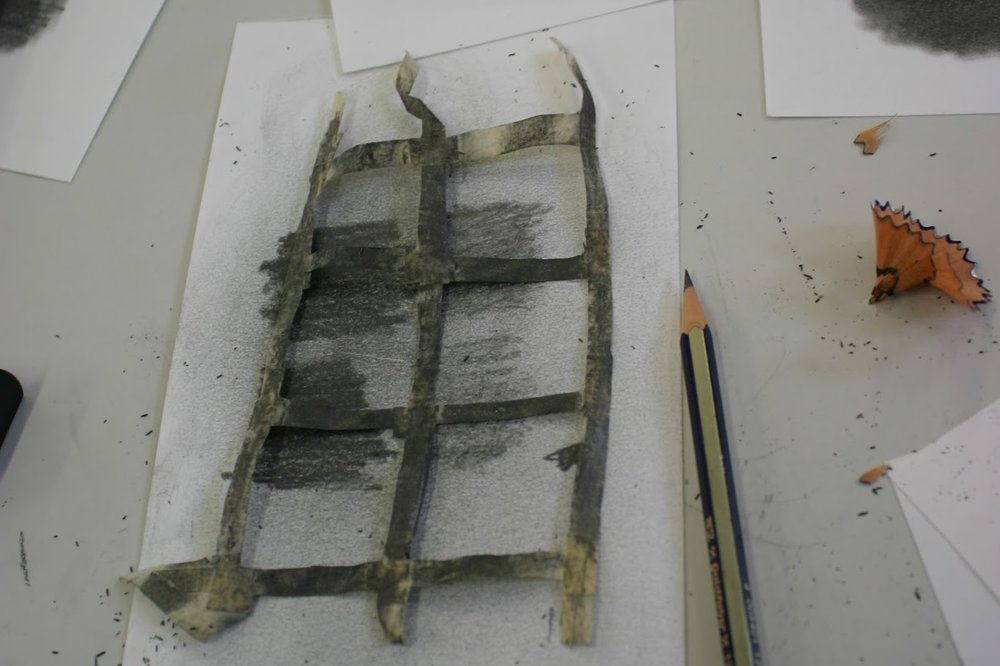 Preparing test samples of masking tape and graphite for artificial aging.