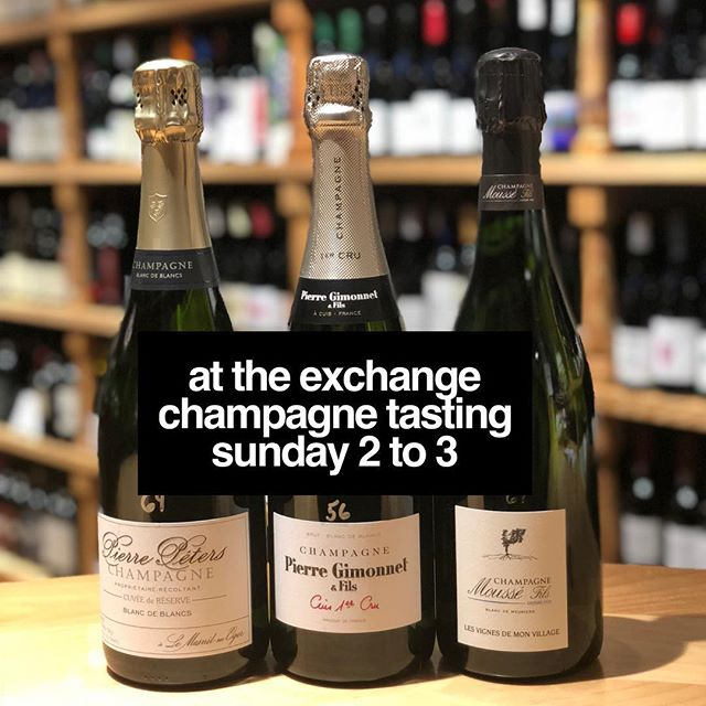 Happy Sunday! Stop by @eoexchange for our FREE grower Champagne tasting from 2 to 3 p.m. Yep, New Year's Eve is tomorrow — crazy but true!! 🍾🍾🍾