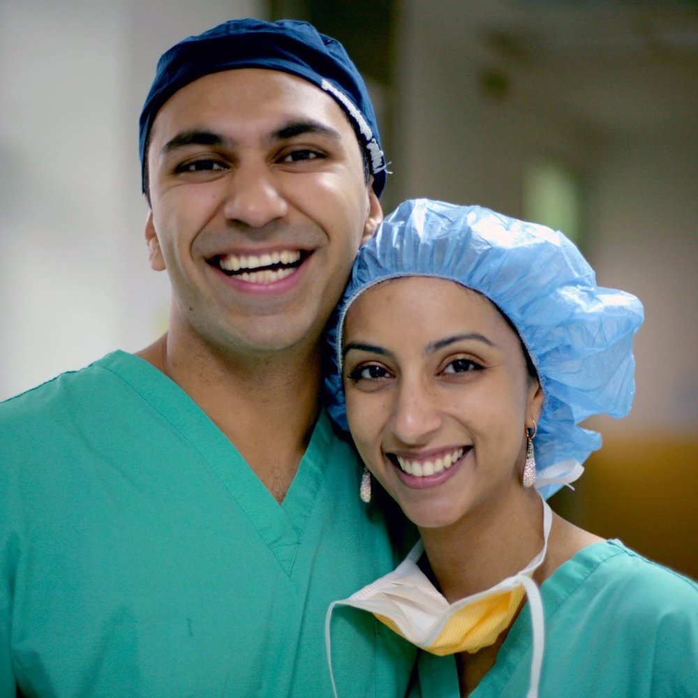 Raj and Sabrina during their residency at  Yale-New Haven Hospital
