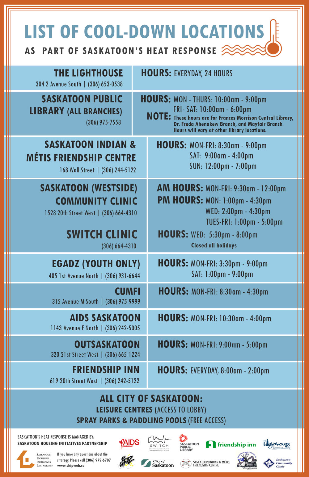 COOL-DOWN LOCATIONS - Homeless individuals and families can cool down during hot temperatures as part of Saskatoon's Heat Response