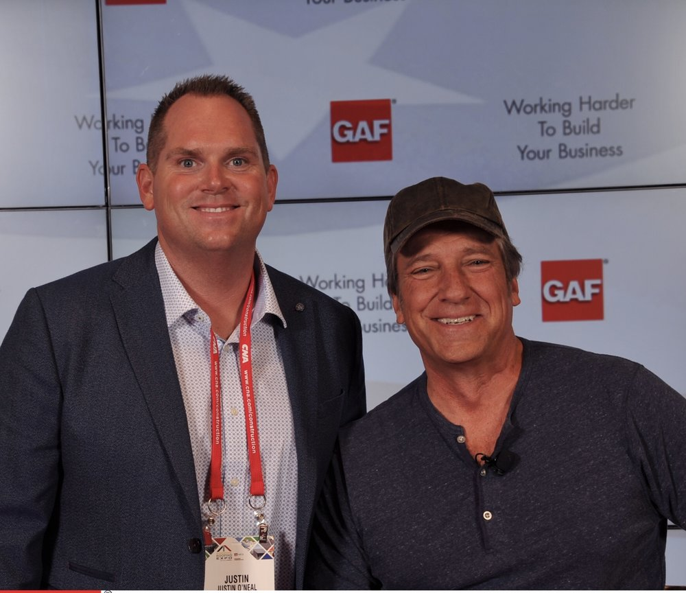 "Justin and ""Dirty Jobs"" Mike Rowe at the 2018 International Roofing Expo in support of a GAF partnership offering veterans employment opportunities."
