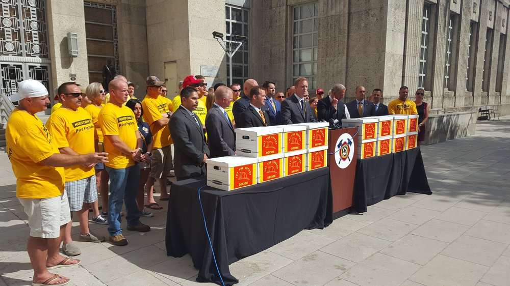 Houston Professional Firefighters Association - In July 2017, the Houston Professional Firefighters Association hired Texas Petition Strategies to conduct a petition drive on their behalf.  They were petitioning the City of Houston to negotiate a new contract to more fairly compensate their members.  In a matter of days over 52,000 signatures of City of Houston residents were collected; 32,000 signatures were verified as being City of Houston registered voters and therefore valid signatures.  From start to finish the project lasted less than 2 weeks and on July 17, 2017  the 52,000 signatures were turned in to the City of Houston's City Secretary.