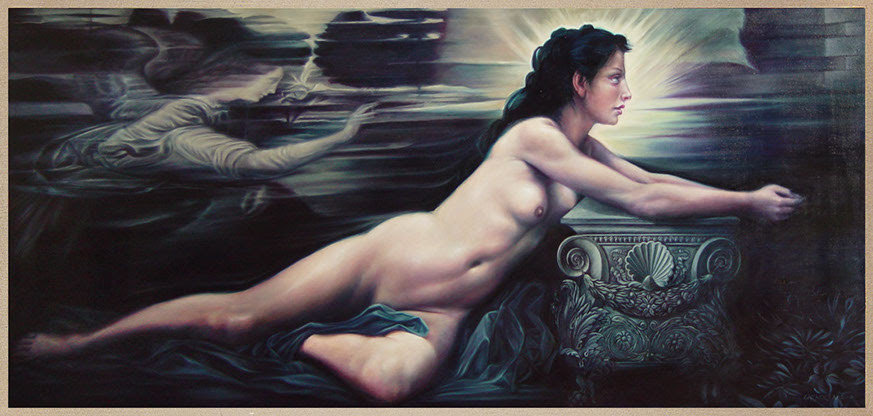 "Annunciazione (background after Leonardo), Oil on Linen, 72"" X 32"", $25,000."