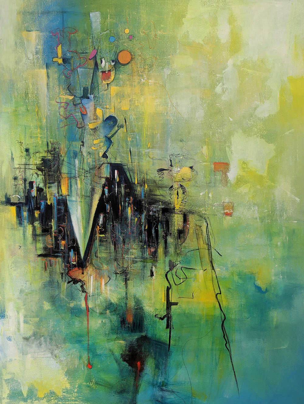 "Offspring, 2018, 30"" x 40"" Acrylic on Canvas, $3300."