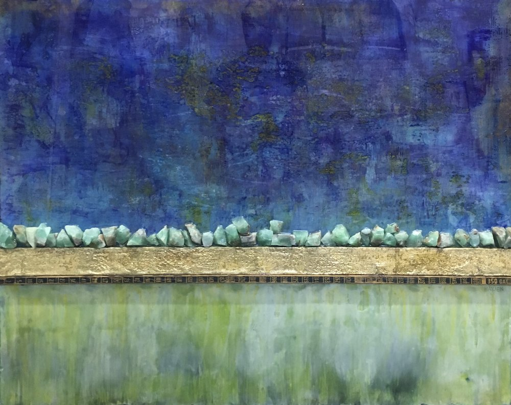 Wetlands , Encaustic, Wood, Gold Leaf, Oil Pastel, Burlap, Resin. 42 x 52 Inches (Framed) $6000