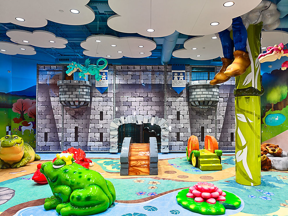 LAKESIDE KIDS' CASTLE  The Kids' Castle features medieval theme, a climbing castle, a hand washing station, baby changing counters, a family restroom and three nursing rooms!  Learn more +