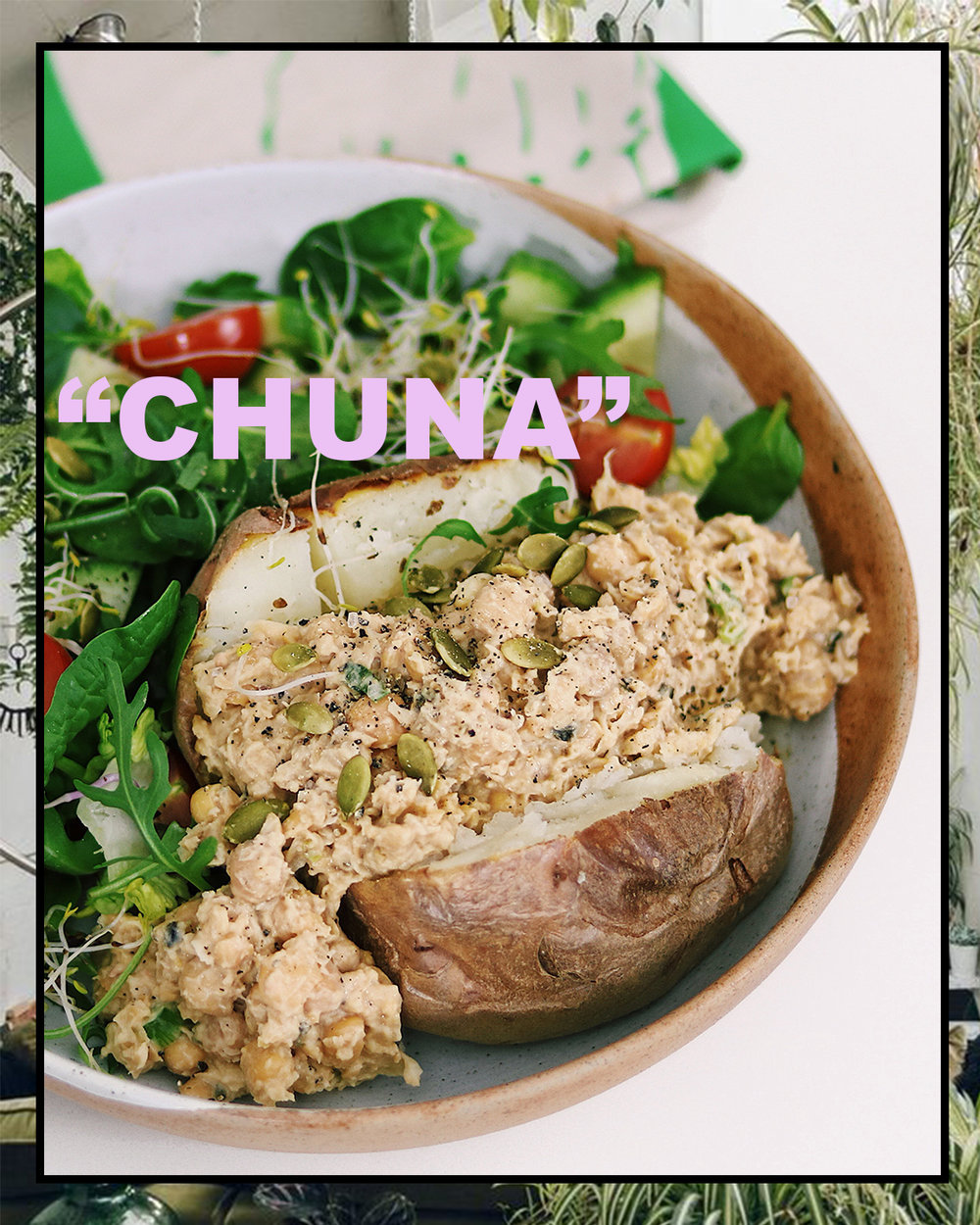 Chickpea 'tuna' recipe - CHUNA (chickpeas that taste like tuna mayo) one of the most popular recipes for those starting out on a vegan journey. It resembles 'tuna mayo' so well its insane! And is still jam packed with protein. Perfect for 'chuna' sandwiches, salads, and one of my favourites - 'chuna' mayo with a jacket potato!