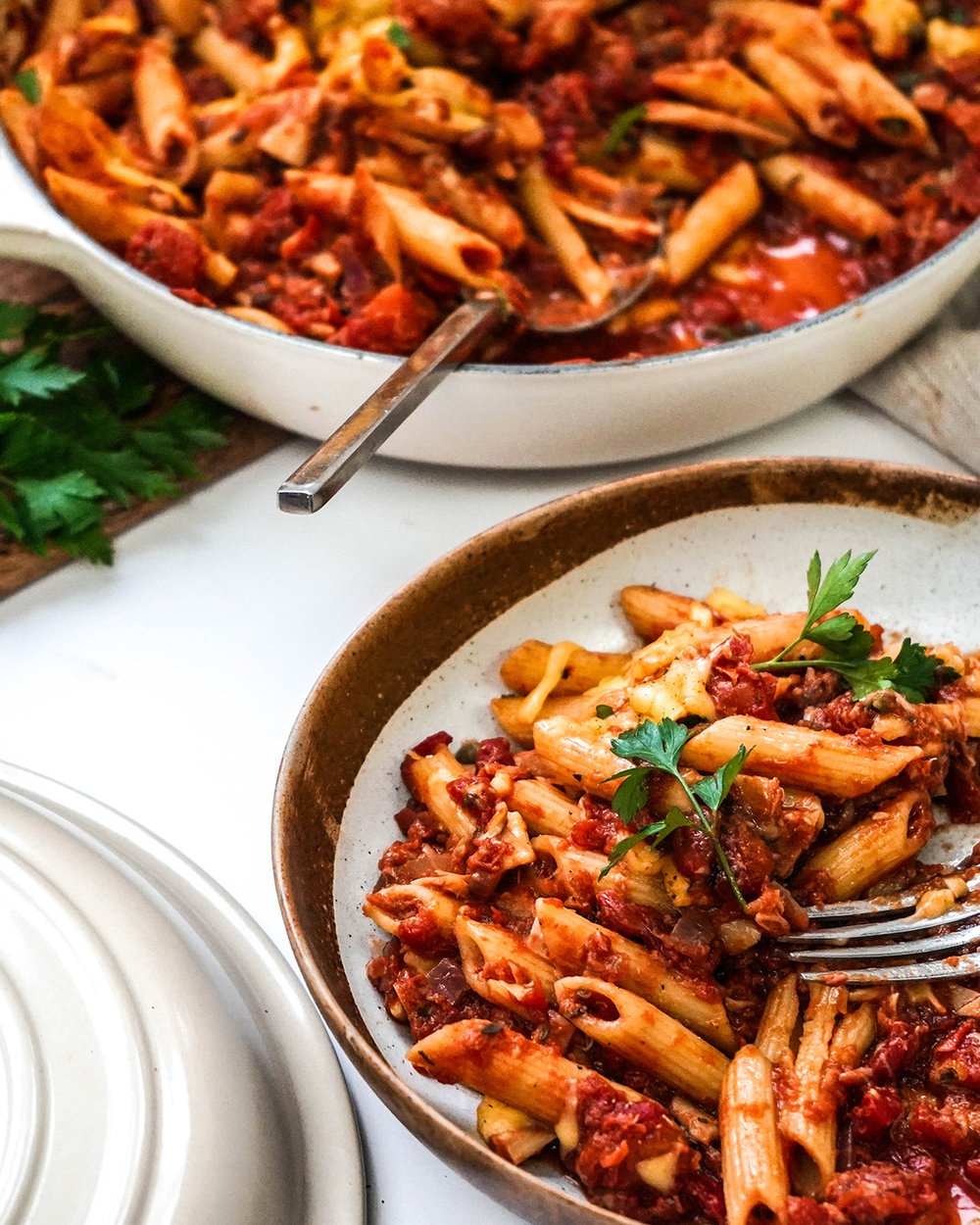 vegan tuna pasta bake - no tuna just vegetables!