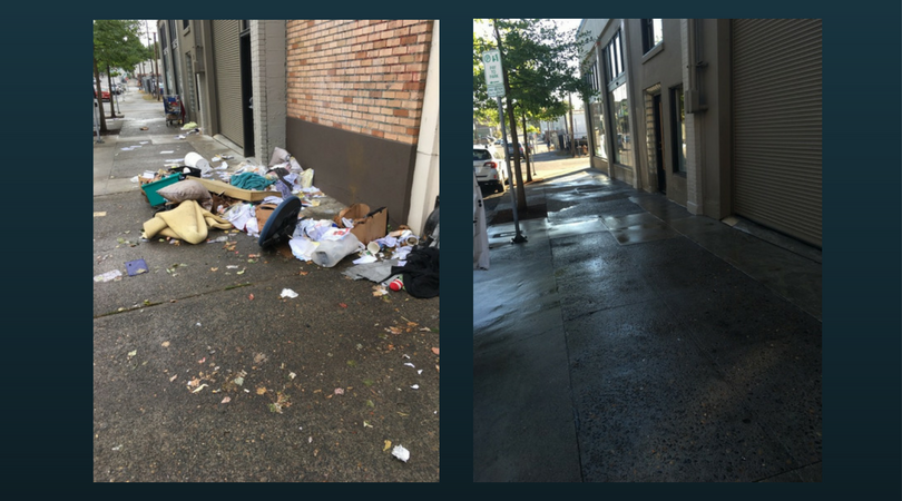 Eastside Portland sidewalk, before and after Clean Start's crew came to work.