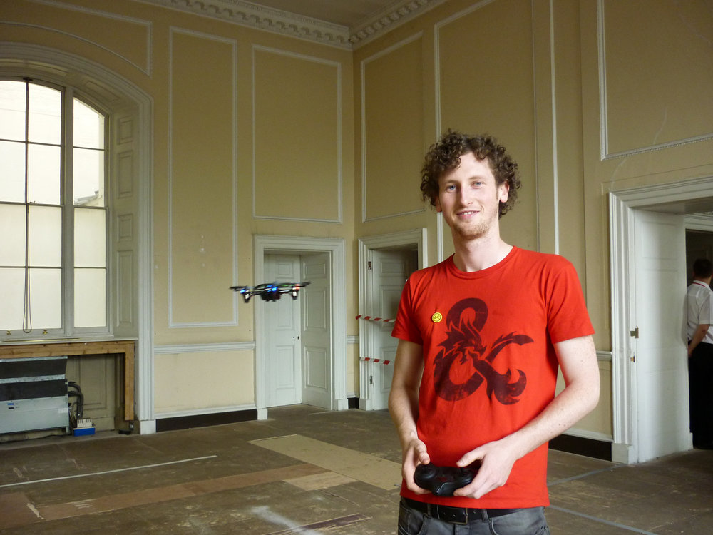Dennis  Outten of  Project Daedalus  flies a drone in Somerset House