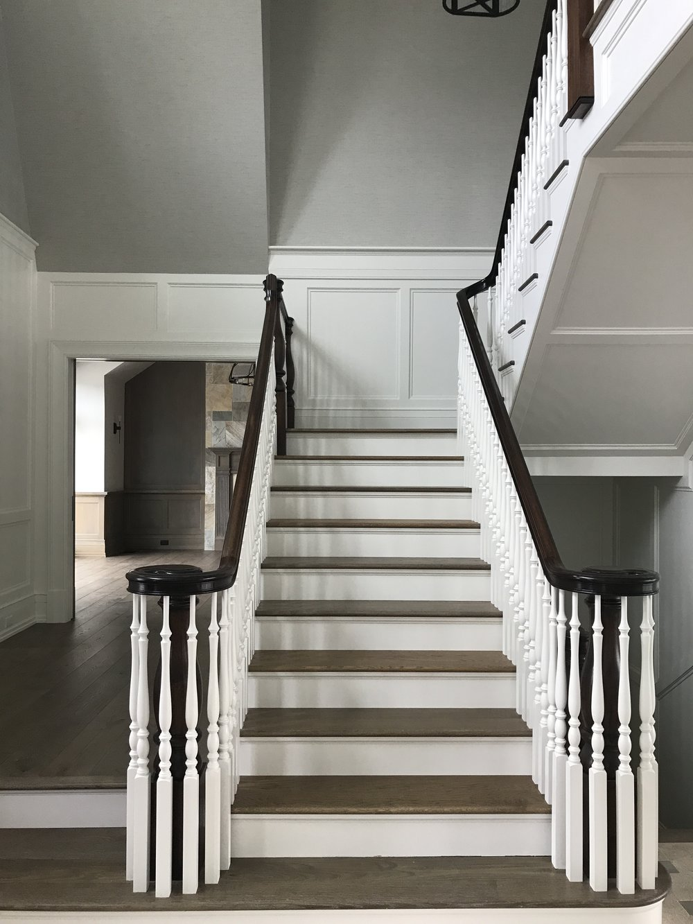 "ENGINEERED WIDE PLANK FLOORS AND BESPOKE TREADS IN ""CHEMIN DE FER""  - CAPE COD OSTERVILLE - BAYSIDE BUILDING"