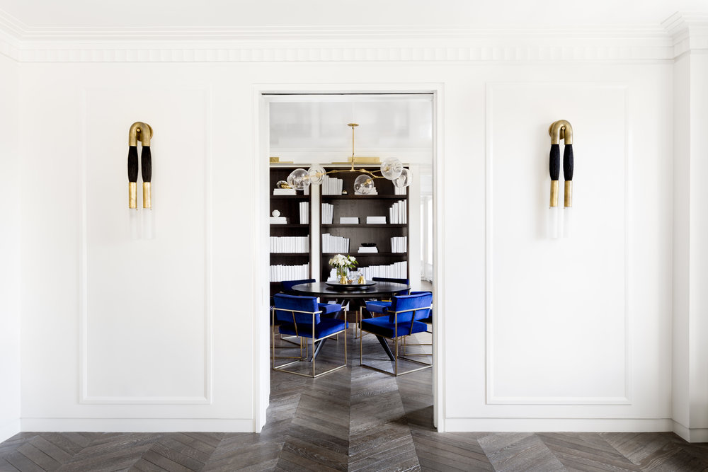 "CHEVRON PARQUET IN ""DARK CHEMIN DE FER""  - NYC GREENWICH VILLAGE - TAMARA MAGEL DESIGN - PHOTO RIKKI SNYDER"