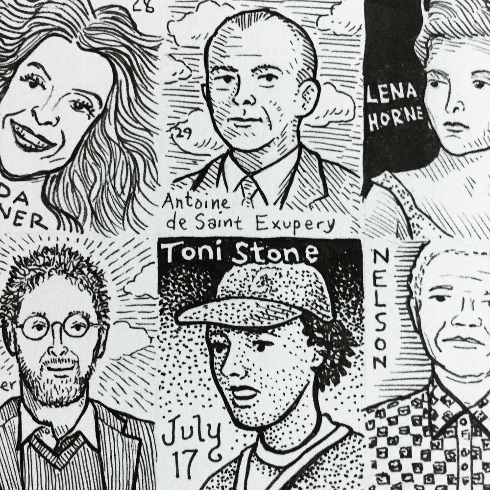 """Birthdays - My first of two June 2018 to June 2019 personal projects is to create a 22"""" x 28"""" drawing of 365 people who I think have made the world a better place. Artists, performers, activist, athletes, drawn daily at less than 1.5 inches tall. Each drawing celebrates someone on their birthday. Visit my Instagram account @gregorynemec to follow my progress and see what wonderful person was born today."""