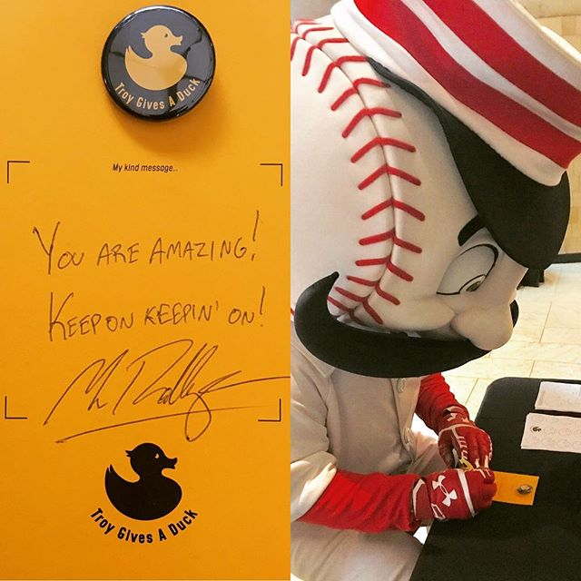 Now that the season is over Mr. Redlegs has more time to spread positive messages and smiles one duck at a time. . . . @reds #positivemessages #spreadhappiness #igiveaduck #whogivesaduck #mrredlegs #youareamazing #keeponkeepingon #troygivesaduck