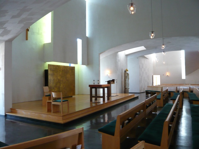 The Chapel of St. Ignatius in Seattle, WA, noted for it's unique use of light to define spaces in a generally open plan. Image by Frank Majka.