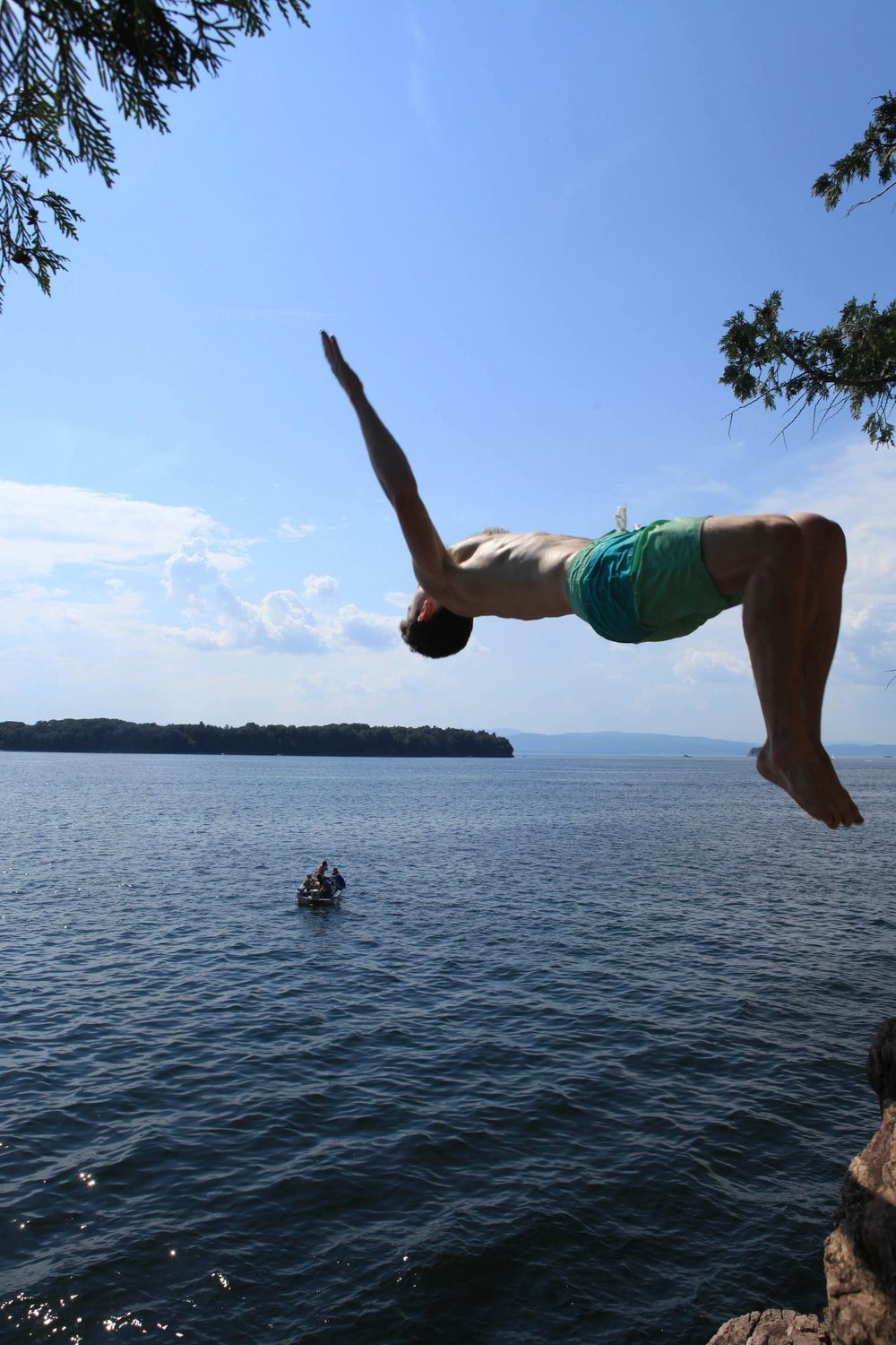 Jumping off cliffs in Vermont